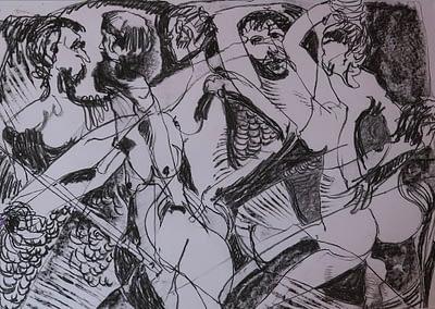 Dancing Figures Charcoal on Paper Valerie Kullack Visual Artist Bangalow Australia