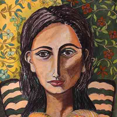 Self Portrait Pastel and Collage Valerie Kullack Visual Artist Bangalow Australia