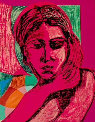 Pink Woman Pastel Valerie Kullack Visual Artist Bangalow Australia