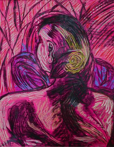 Portrait- coloured drawing-charcoal /coloured-Valerie Kullack- Northern Rivers - Australian Visual Artistk
