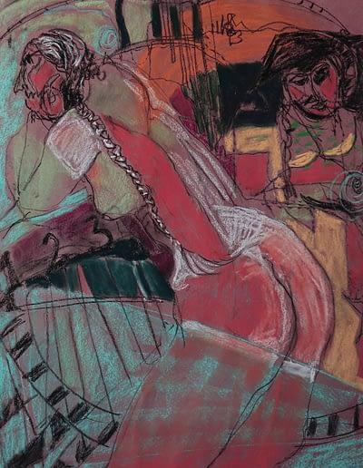 Woman and Pirate Pastel Valerie Kullack Visual Artist Bangalow Australia