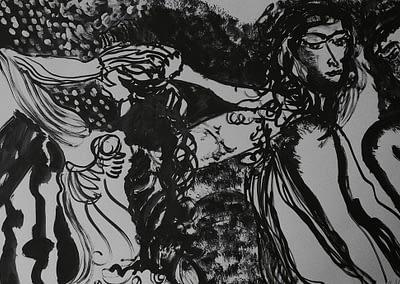 At the Balcony Ink on Paper Valerie Kullack Visual Artist Bangalow Australia