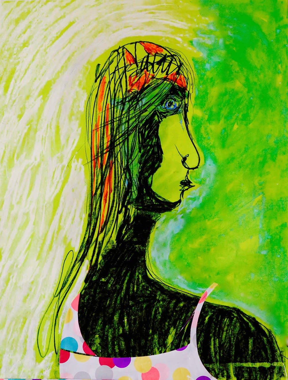 Nature Woman Pastel and CollageValerie Kullack Visual Artist Bangalow Australia