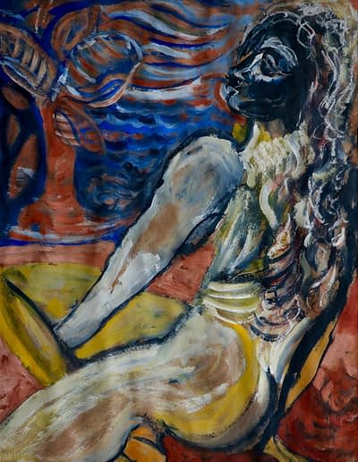 Woman by the sea gouache and charcoal on paper Valerie Kullack Australian Visual Art Bangalow