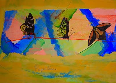 Papillion Oil and Cold Wax Collage on paper Valerie Kullack Visual Artist Bangalow Australia