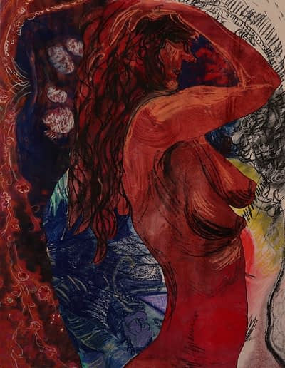 Woman Bathing Pastel Valerie Kullack Visual Art Bangalow Australia