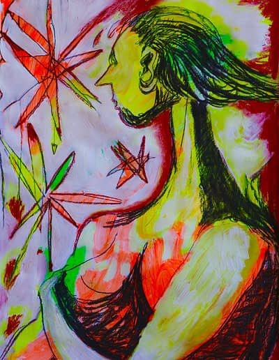 Fireworks Pastel Valerie Kullack Visual Artist Bangalow Australia
